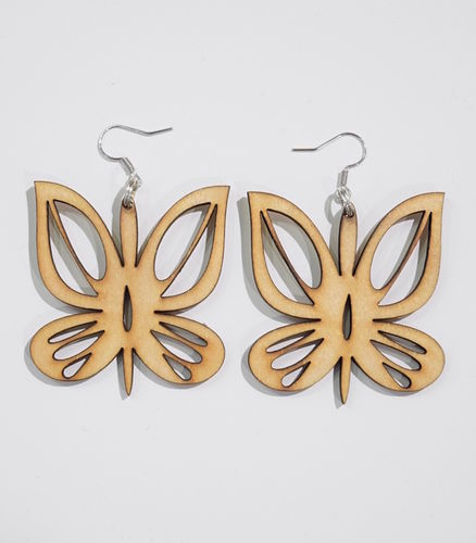 Aleksiina Butterfly Earrings Birch Plywood 4,5 cm
