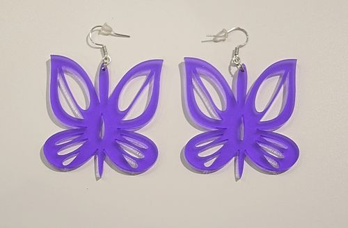 Aleksiina Butterfly Earrings Purple Transparent Matt
