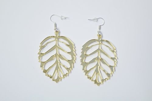 Aleksiina Leaf Earrings Goldmirror 5 cm