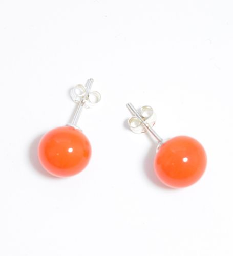 Lillan Helsinki Pompom Stud Earrings Orange