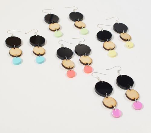 Aleksiina Bubbles Earrings Acrylic-Wood