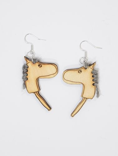 Aleksiina Stick Horse Hobbyhorse Earrings Grey Mane