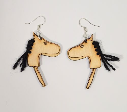 Aleksiina Stick Horse / Hobbyhorse Earrings Black Mane