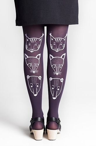 Mary A. Jalava Tights Totem Animals Plum