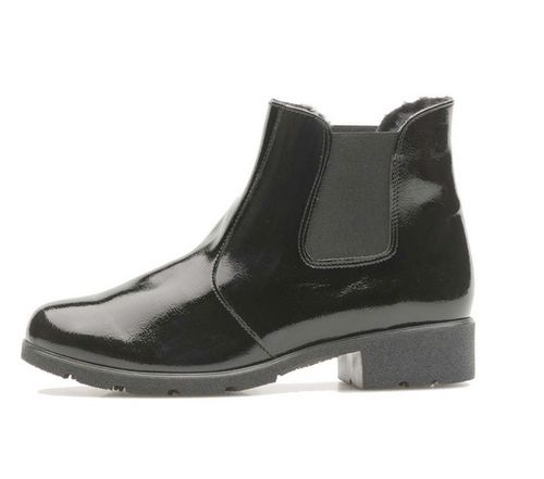 "Palmroth chelsea boot black ""crush"" patent 83020"