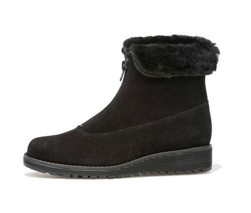 Palmroth ankle boot with front zipper, black suede 83006