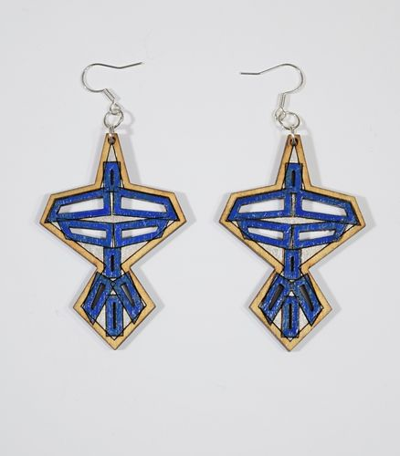 Aleksiina Japon Earrings Wood/Blue/Silver