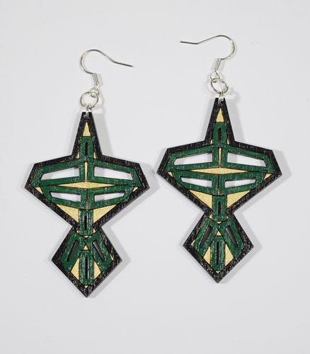 Aleksiina Japon Earrings Wood/Green/Gold/Black