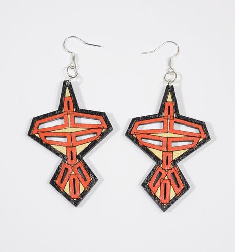 Aleksiina Japon Earrings Wood/Red/Gold/Black