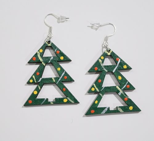 Aleksiina Spruce Christmas Tree Earrings Wood