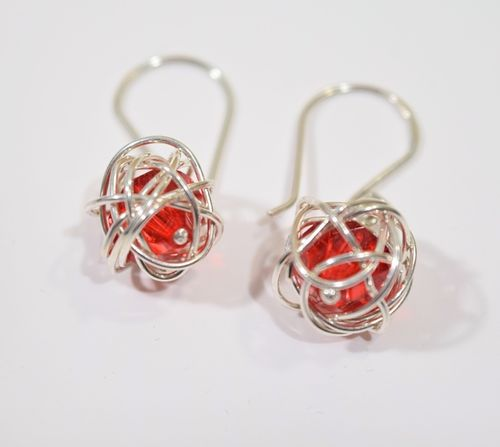 Koi Design Risupallo Earrings Red Silver
