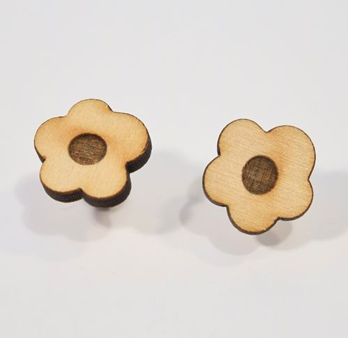 Aleksiina Pansy Stud Earrings Wood