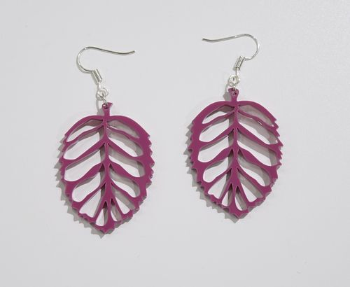 Aleksiina Leaf Earrings Purple Plum 4 cm