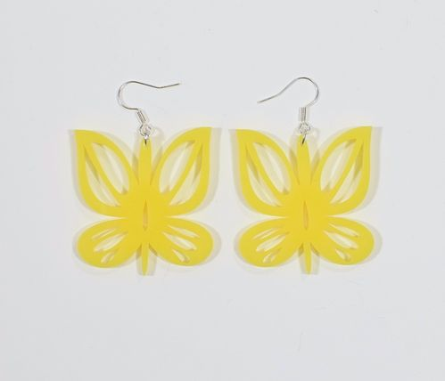 Aleksiina Butterfly Earrings Yellow 4 cm