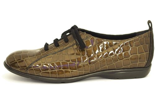 Palmroth shoe with laces brown patent croco leather 85030 p62