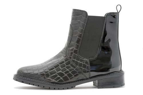 Palmroth ankle boot black patent croco 83155