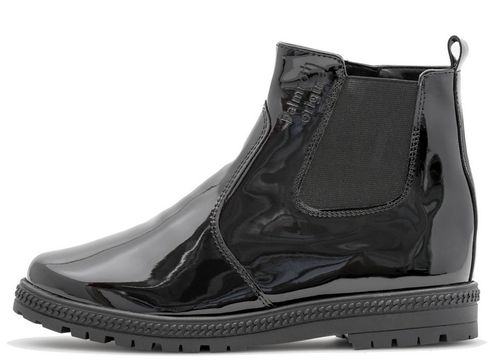 Palmroth chelsea ankle boot with zipper black patent 83163