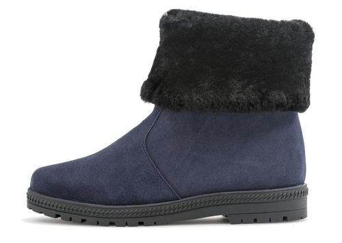 Palmroth ankle boot with lamb fur collar 83174 blue suede