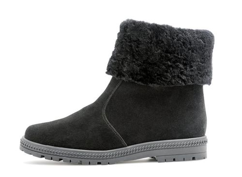 Palmroth ankle boot with lamb fur collar 83174 black suede