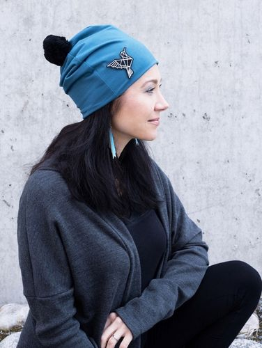 Riiminka Kide Beanie with Bobble petrol