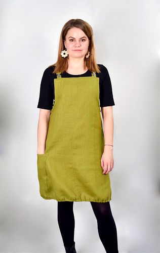 Riiminka Dress Dress Linen OLIVE GREEN