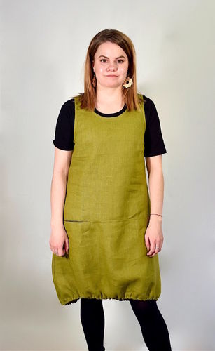 Riiminka Varpu Dress Linen OLIVE GREEN