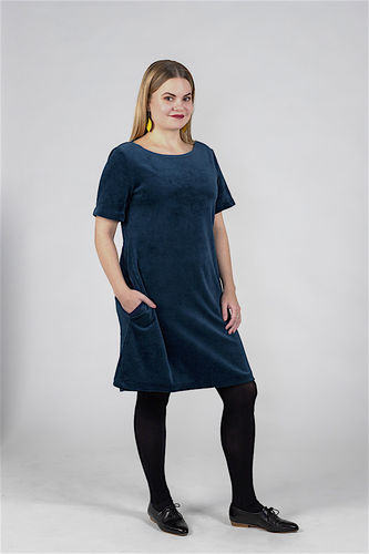 Aleksiina Selma velor dress, blue