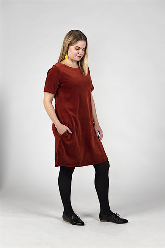 Aleksiina Selma velor dress, rust