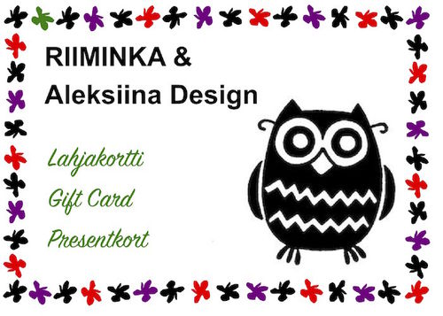 Gift Card RIIMINKA & Aleksiina Design, start 10,00€